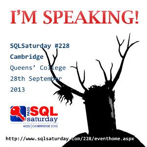 SQL Saturday Cambridge, I'm Speaking