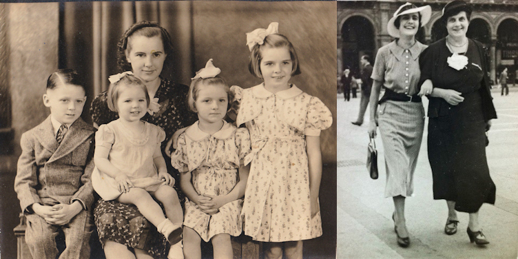 Split Screen: 1930's image of Mother in a hat seated for a portrait with four children, a boy on her right in a suit, the youngest girl in her lap and two older girls on her left. The girls have dresses and bows in their hair. Mother and adult daughter arm in arm walking in a plaza in the 1930's.