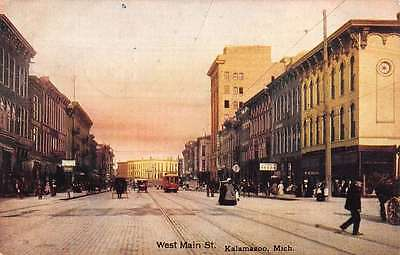 Postcard of downtown Kalamazoo with street car in 1880
