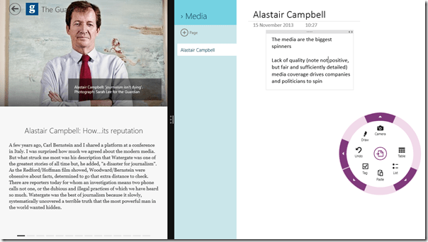 Split screen on Microsoft Surface RT with Flipboard and OneNote