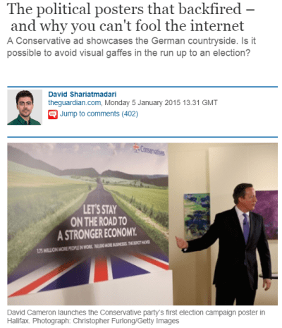 """David Cameron launching """"Let's stay on the road to a stronger economy"""" poster"""