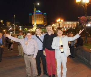 Stuart Bruce, Lars Hilse, Gianni Catalfamo and Maxim Behar in Maidan Nezalezhnosti (Independence Square) in Kyiv for the Davos World Communication Forum.