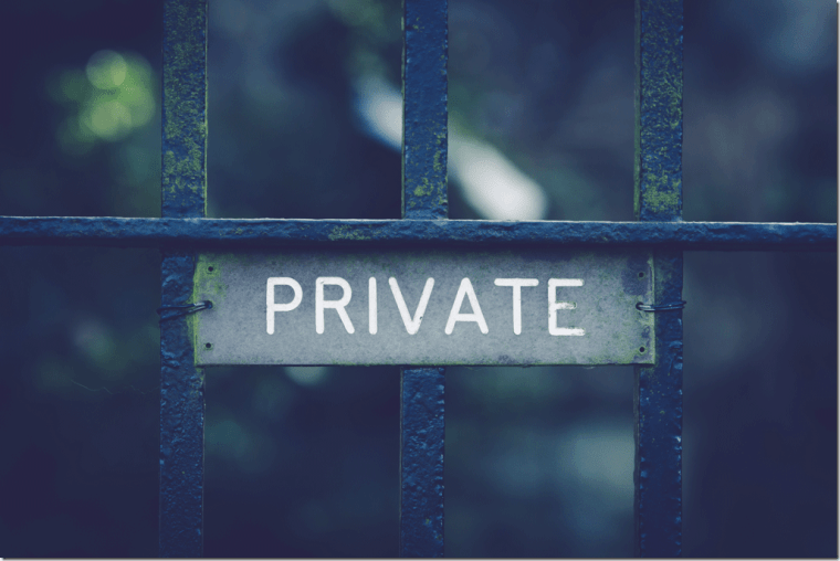 Private sign on gate photo