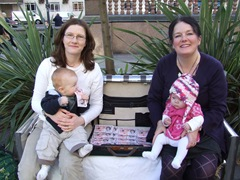 Karen Bruce and Lisa Mulherin with babies