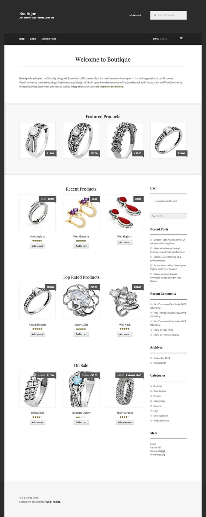 WooThemes Storefront Boutique Child Theme