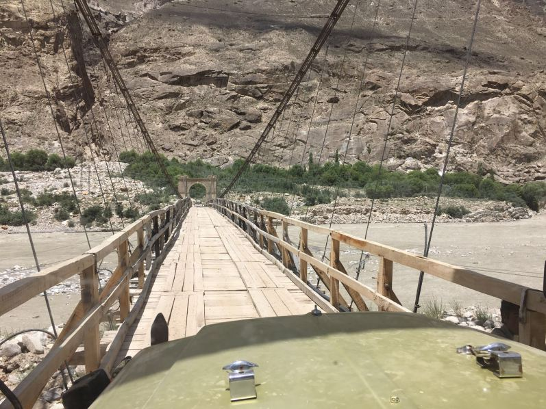 One of the many suspension bridges that the climbing group was required to pass on the way to Askole.