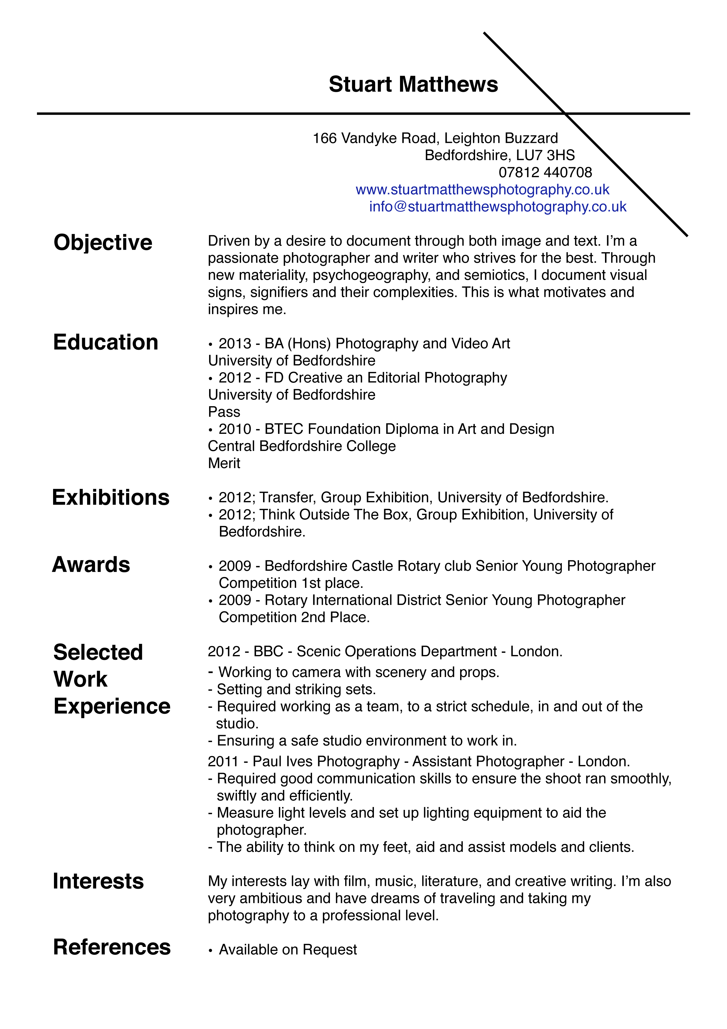 Resume Format For Makeup Artist Curriculum Vitae Stuart Matthews Photography