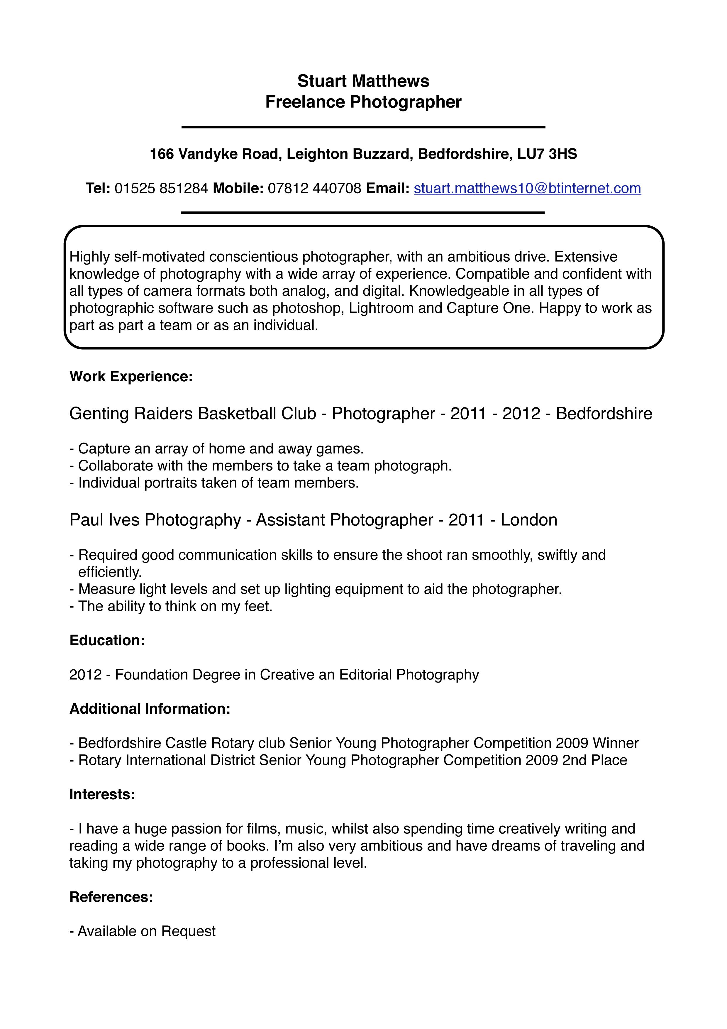 Curriculum Vitae Stuart Matthews Photography