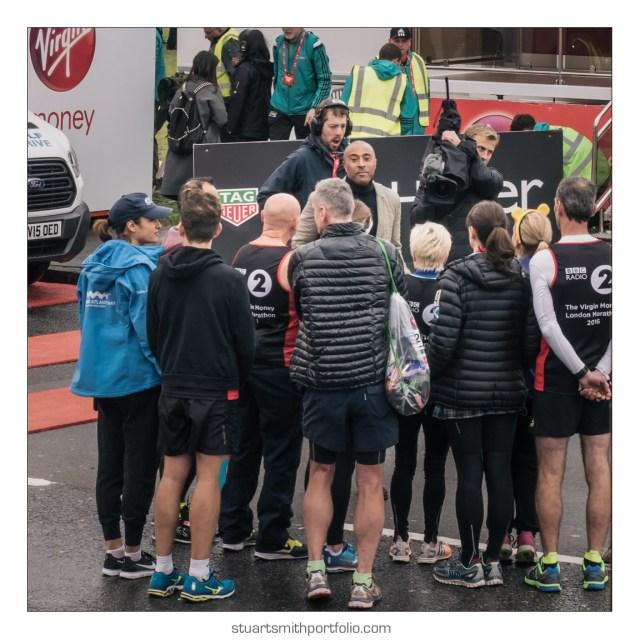 London Marathon Pictures - BBC Colin Jackson interviewing particpants