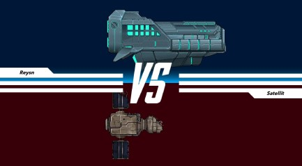 Kampf gegen Satellit im Spiel Pixel Starships
