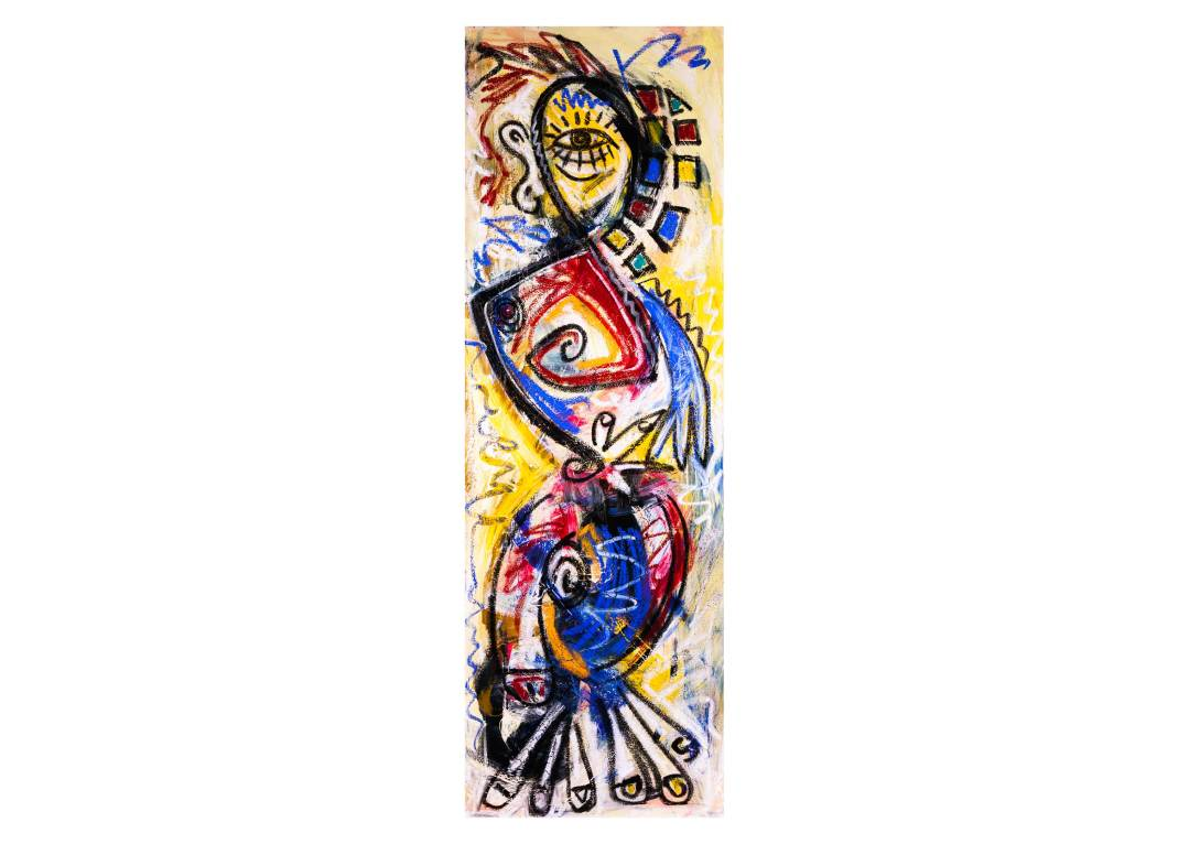 Chess-piece--bishop-20x60-acrylic-and-oil-on-canvas