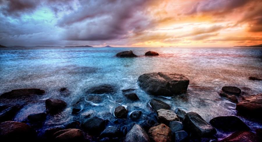 Savannah Beach Rocks at Sunset