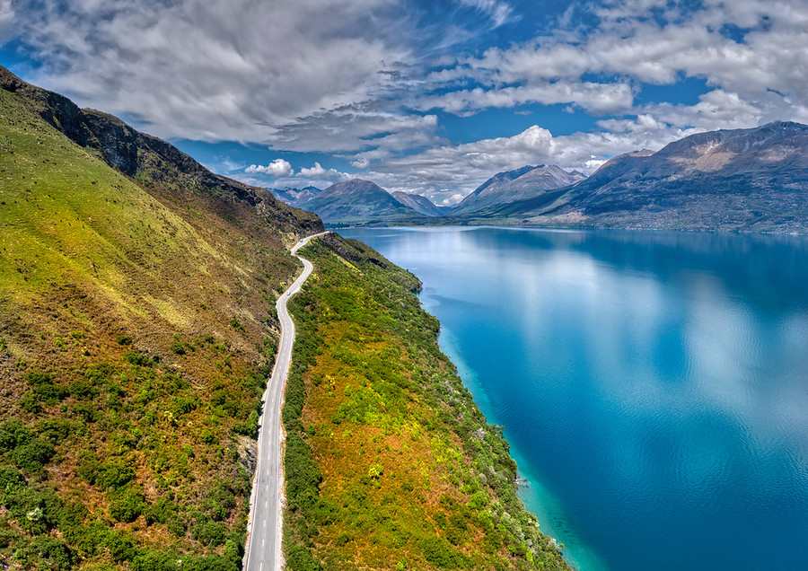 A Panorama of the Road from Glenorchy to Queenstown
