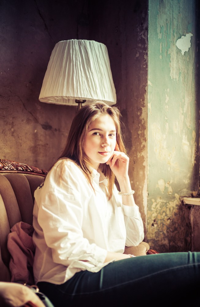 Girl In Coffee Shop In St. Petersburg