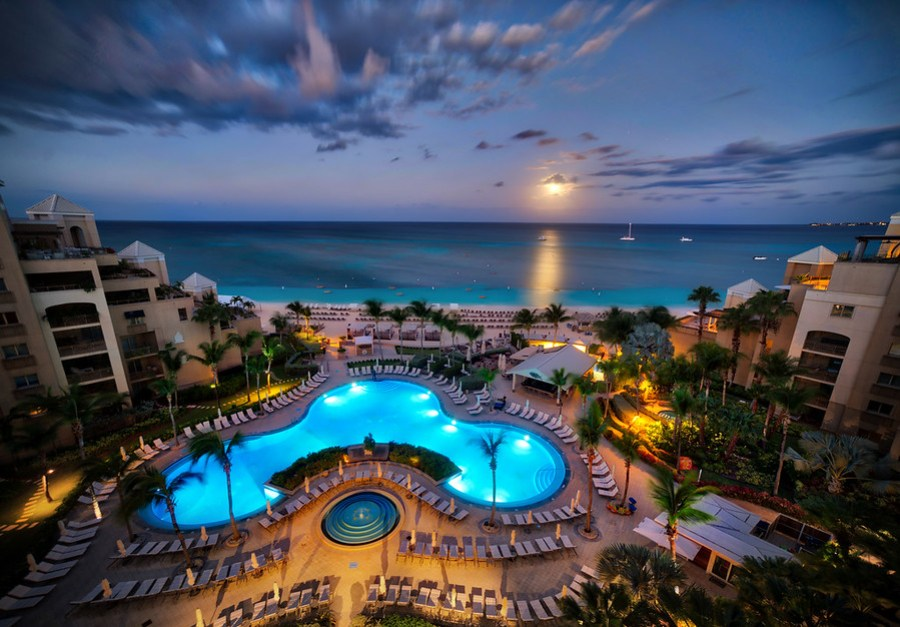 The Moon Sets Over Grand Cayman