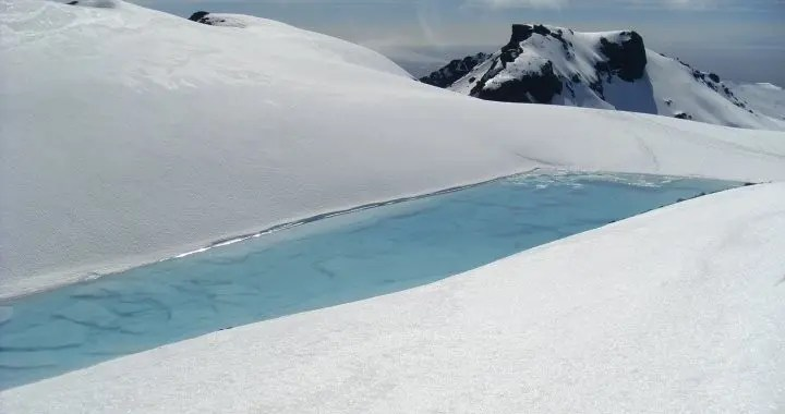 Water pool on the Vatnajokull Glacier. The water from it was absolutely delicious.