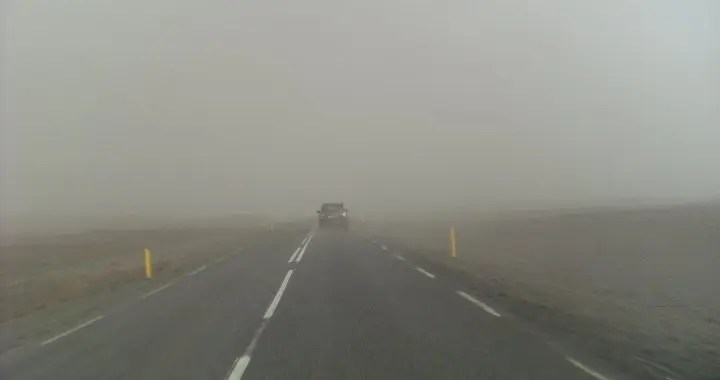 Driving through the ash cloud from the 2010 Eyjafjallajokull eruption