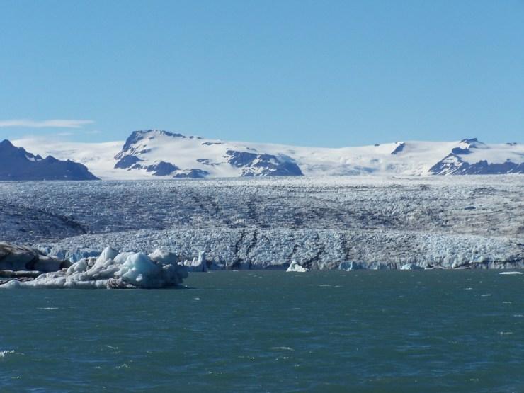 The edge of breidamerkurjokull glacier that sticks out of the massive Vatnajokull glacier and feeds in to the Jokulsárlón lagoon.