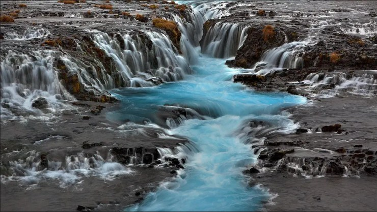 Brúarfoss waterfall in autumn. This perfect Iceland waterfall has so many facets over the different seasons.