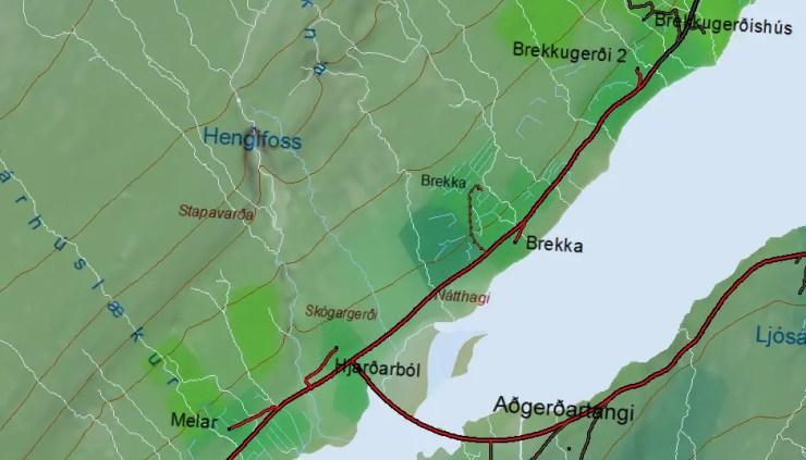 Map of Hengifoss waterfall and surroundings.