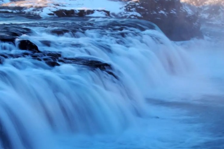 Icelandic waterfall becomes a work of art.