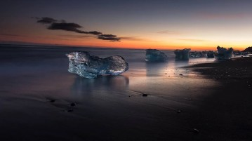 From the Wild Iceland Photo Books: Twilight at Glacier Lagoon, Iceland.