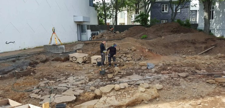 Archaeologists hard at work in center of Reykjavik.