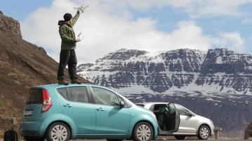 Making the Iceland from the sky video. Let´s hope the car rental company people don´t see this picture. Photo by Curran Ferrey