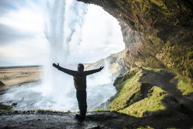 Behind Seljalandsfoss waterfall.