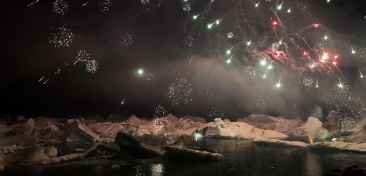 Fireworks at Jökulsárlón. It is an annual event.