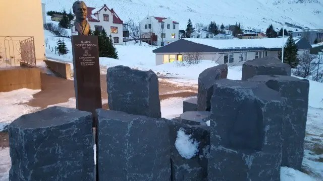 Memorial to the priest, folk song collector and scholar Bjarni Þorsteinsson.