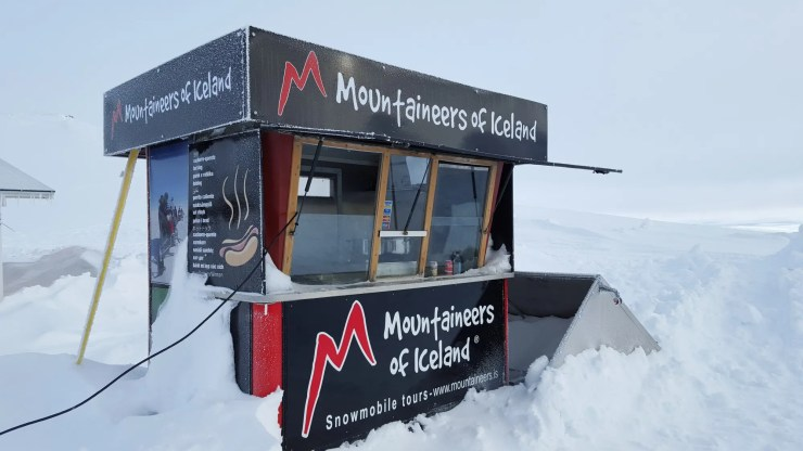No base camp at a glacier is complete without a hot dog stand.
