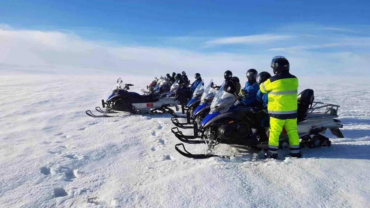 Captain Slow Crosses Langjökull Glacier on a Snowmobile