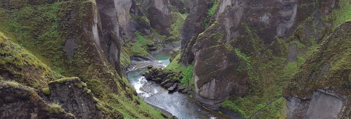 Fjaðrárgljúfur Canyon in near the village of Kirkjubæjarklaustur on the south coast of Iceland.