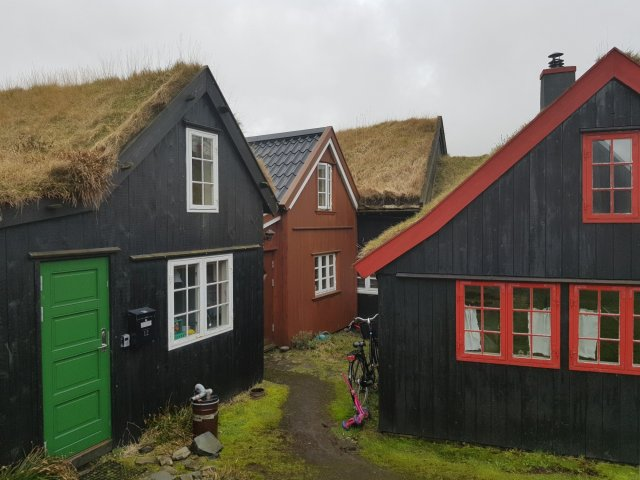 The center of Tórshavn in the Faroe Islands has beautifully maintained old houses.
