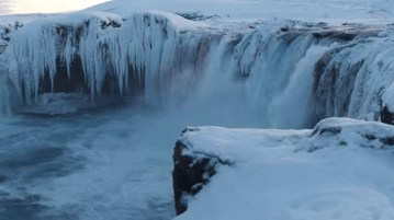 Iceland drone videos by Ozzo shows Iceland in its full rugged glory. Here is Godafoss waterfall in winter.