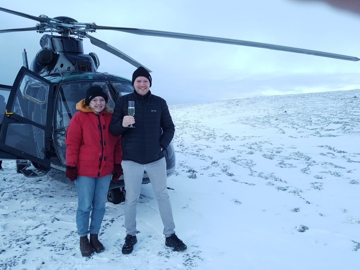 Helicopter ride up to Mt. Esja. Don´t mind if we do!