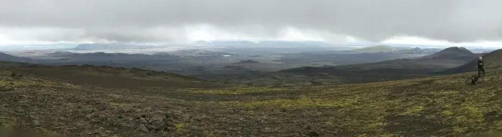 Panoramic view from Mt. Hekla towards Búrfellsvirkjun og Þjórsárdalur valley.
