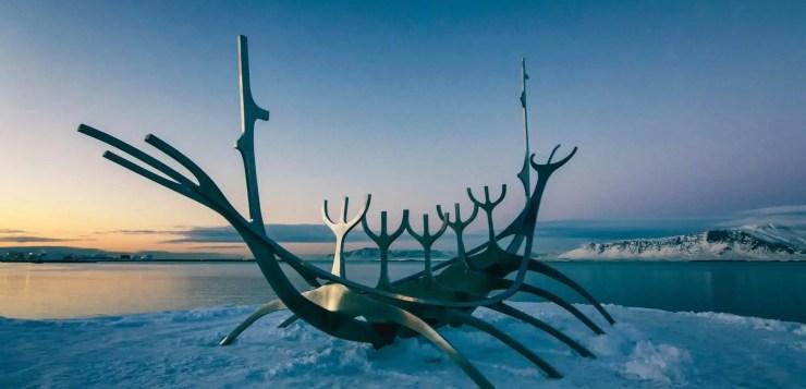 Sun Voyager sculpture by artist Jón Gunnar Árnason in Reykjavik, Iceland
