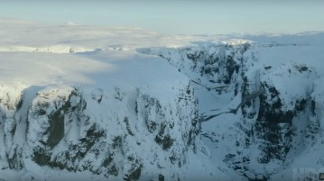 Game of thrones scene with dragons flying over Fjadrargljufur canyon in Iceland