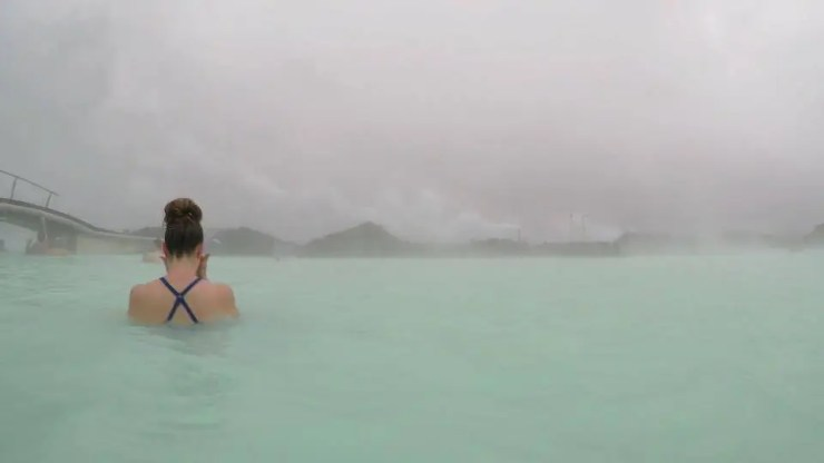 Lady in blue lagoon in Iceland