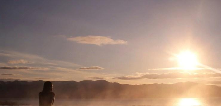 Sunset at GeoSea Baths in Húsavík.