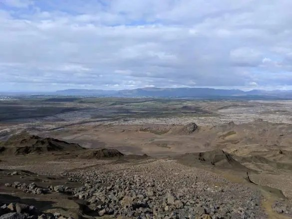 The view towards Reykjavik at the top of Helgafell hill.
