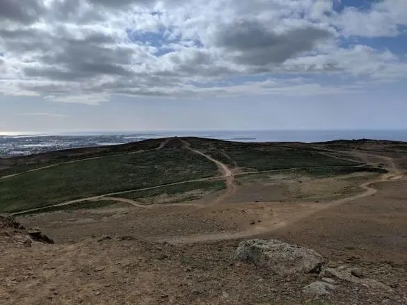 The view towards Reykjavik from Úlfarsfell hill in Iceland.