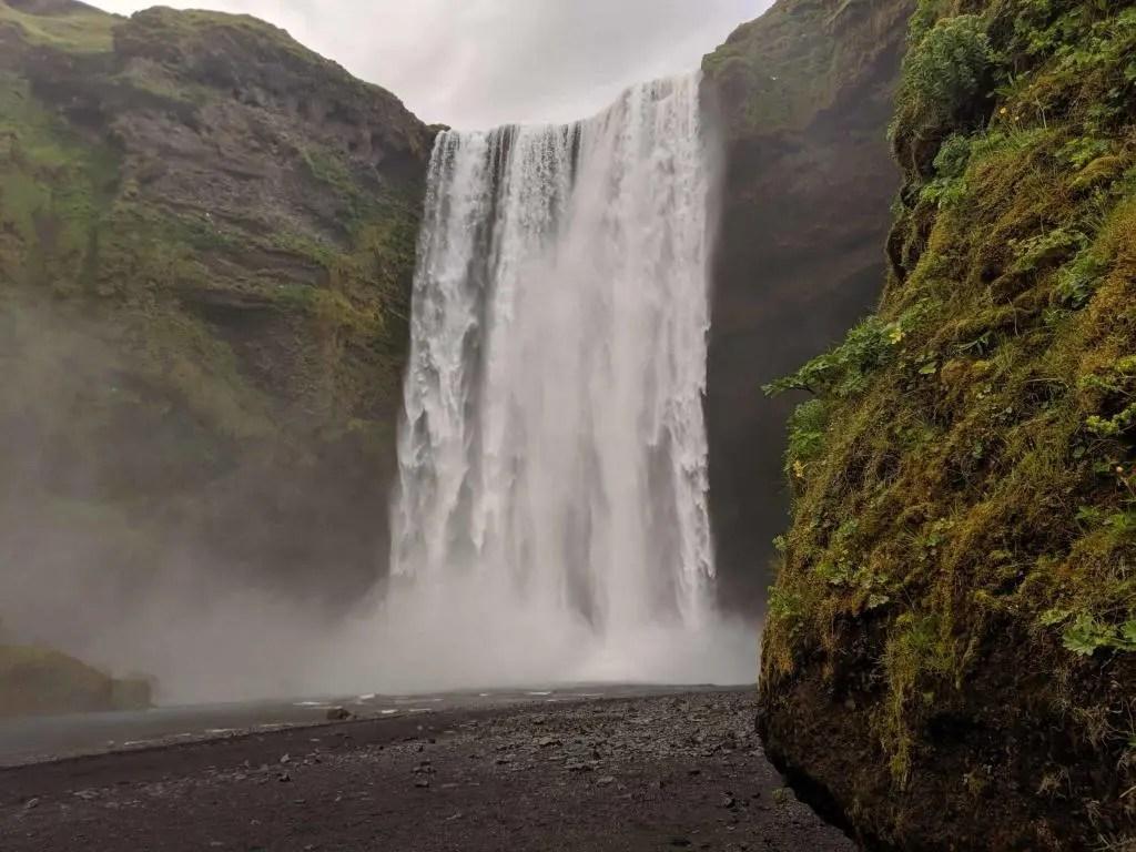 Skógafoss waterfall at Skógar is at the starting point of the Fimmvörðuháls hiking trail