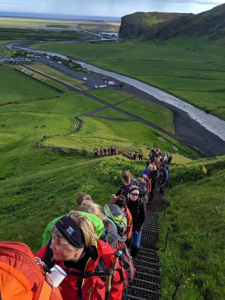 Heading up Kvennabrekka near Skógafoss