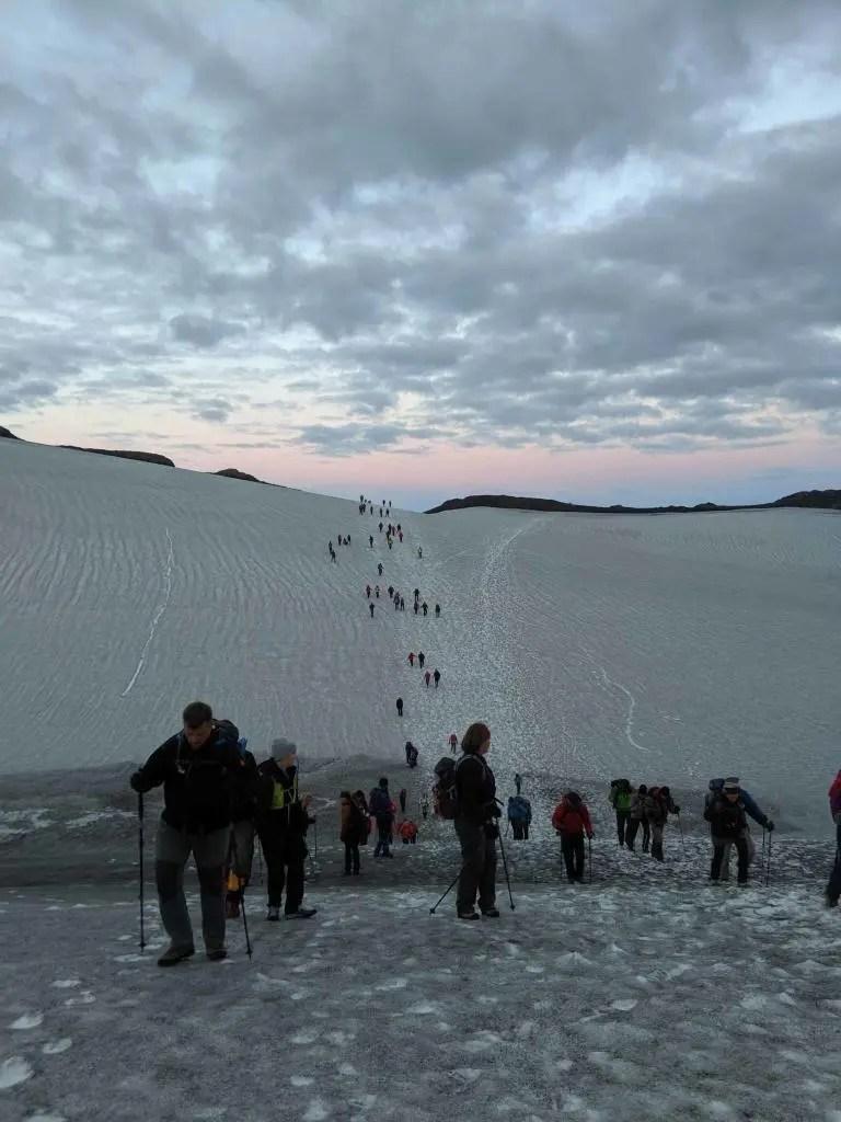 Passing Bröttufönn on the Fimmvörðuháls hiking trail