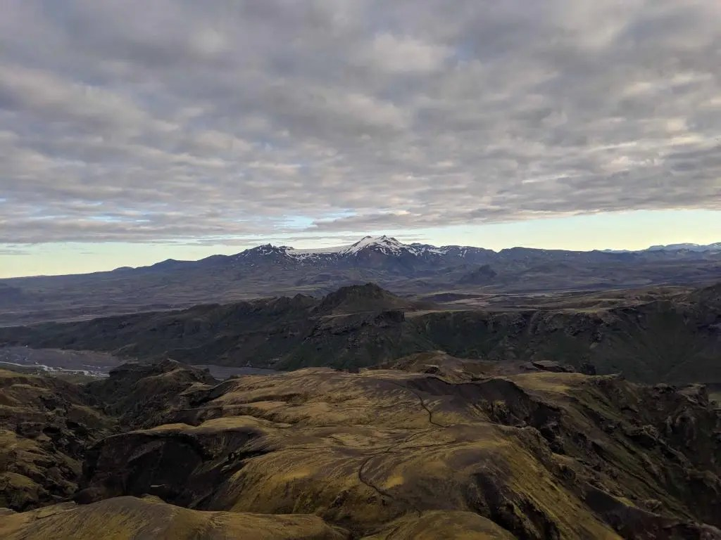 View down from Þórsmörk. Again, Tindfjöll in the middle distance.