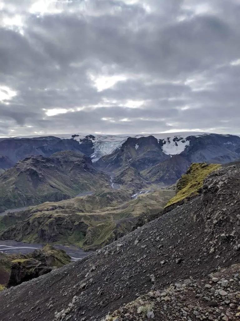 The edge of Mýrdalsjökull glacier. Beyond lies the monster volcano Katla.