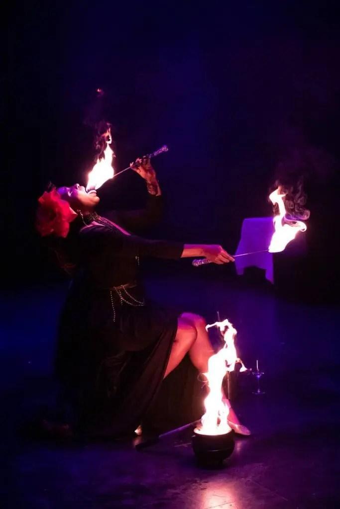 Artist Sage Sovereign plays with fire at the Reykjavik variety show Búkalú.